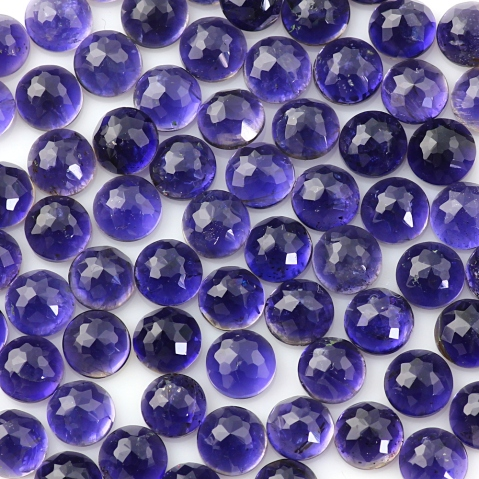 6mm iolite rose cut round cabochon