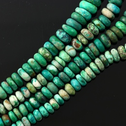 Joopy Gems Chrysocolla rondelle beads, AB grade, 7-8mm, matte finish