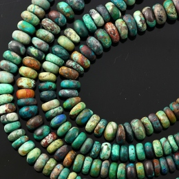 Joopy Gems Chrysocolla rondelle beads, matte finish, 7-8mm