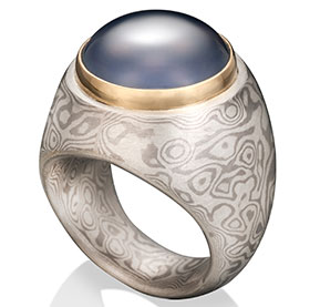 Chris Ploof mokume gane blue chalcedony ring