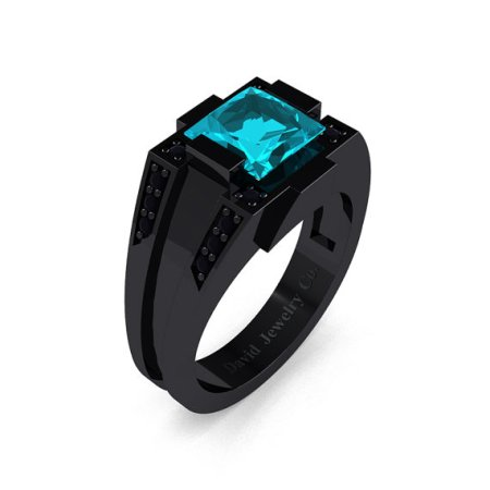 Black gold and blue zircon ring