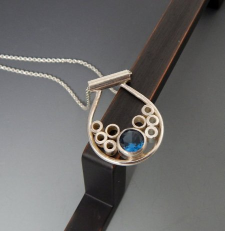 Jewelry by Francine Sterling Silver and Blue Zircon Necklace