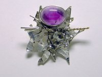 Laura Wilson Gallery amethyst and sterling silver brooch