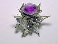 Laura Wilson Gallery amethyst and sterling silver brooch