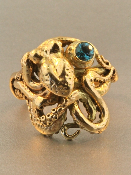 Marty MagicOctopus Ring With Blue Zircon - 14k Gold