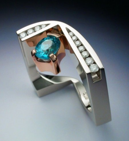 Metamorphosis Jewelry white and rose gold ring with zircon and blue diamonds