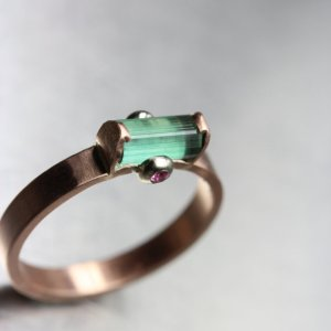 Nanijala Rough teal tourmaline pink sapphire engagement ring