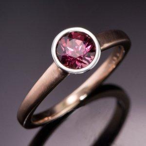 Nodeform Weddings Rhodolite Garnet Palladium Bezel Solitaire Engagement Ring with Narrow Rose Gold Ring Band