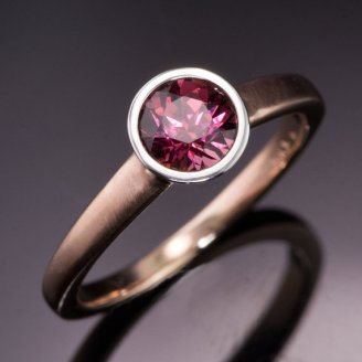 Nodeform Weddings Rhodolite Garnet Palladium Bezel Solitaire Engagement Ring with Narrow Rose Gold Ring Band