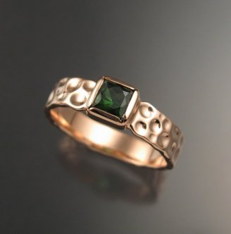 Stone Fever Jewelry Green Tourmaline square Moonscape ring Emerald substitute 14k rose gold ring