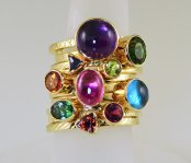 Stowe Gems Amethyst Cabochon 14K Stack Ring