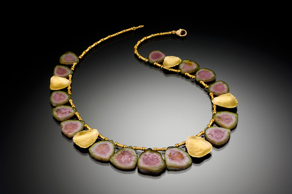 "Barbara Heinrich Studio Watermelon tourmaline slice necklace with five hand-fabricated 18kt gold shell elements and gold tube spacers, 15.5"" long with a 2"" extension chain."