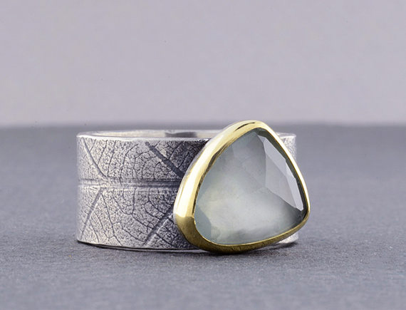 Hammer and Verse Aquamarine Rose Cut Sterling and 18k Gold Ring-1