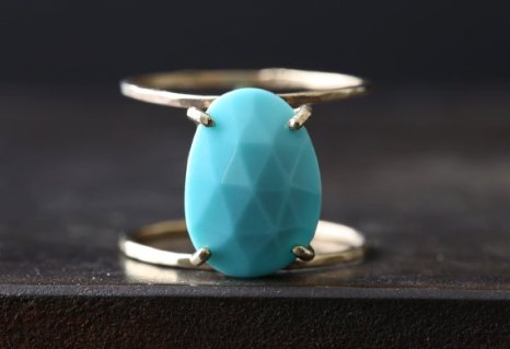 Lex Luxe Turquoise Rose Cut Cage Ring, set in 14K gold, $360