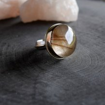 Moon and Forge Studio Gold Ring - Gold & Rutile Quartz - Silver and Gold Ring - Golden Rutilated Quartz - The Rustic Collection