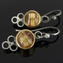 Nijiko Designs 18ct gold and rutilated quartz earrings