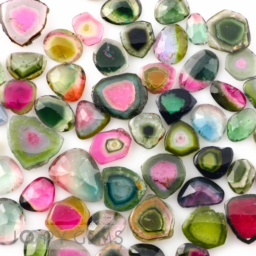 Joopy Gems watermelon tourmaline slices and rose cuts