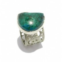2. Zygo Jewellery: Chrysocolla Palladium Plated Sterling Silver Ring, $184.65