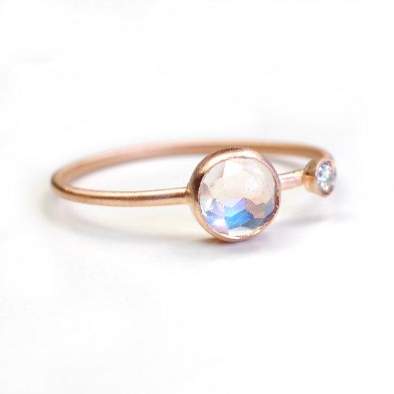 NIXIN rainbow moonstone, diamond and 14k gold ring
