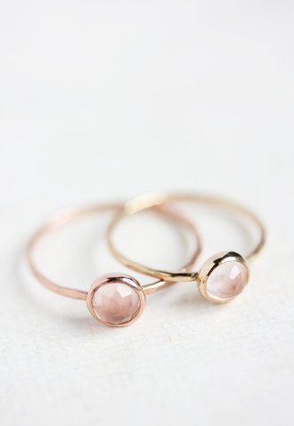 Belinda Saville rose quartz and 14k rose gold ring