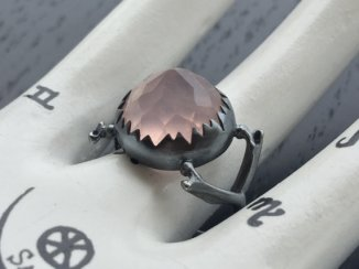 Charlotte Burkhart rose quartz and sterling silver ring