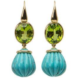 David Precious Gems Peridot and Turquoise earrings, $4,795