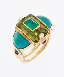 Michael Boyd Emerald, Peridot, gem silica, sapphire and amethyst ring