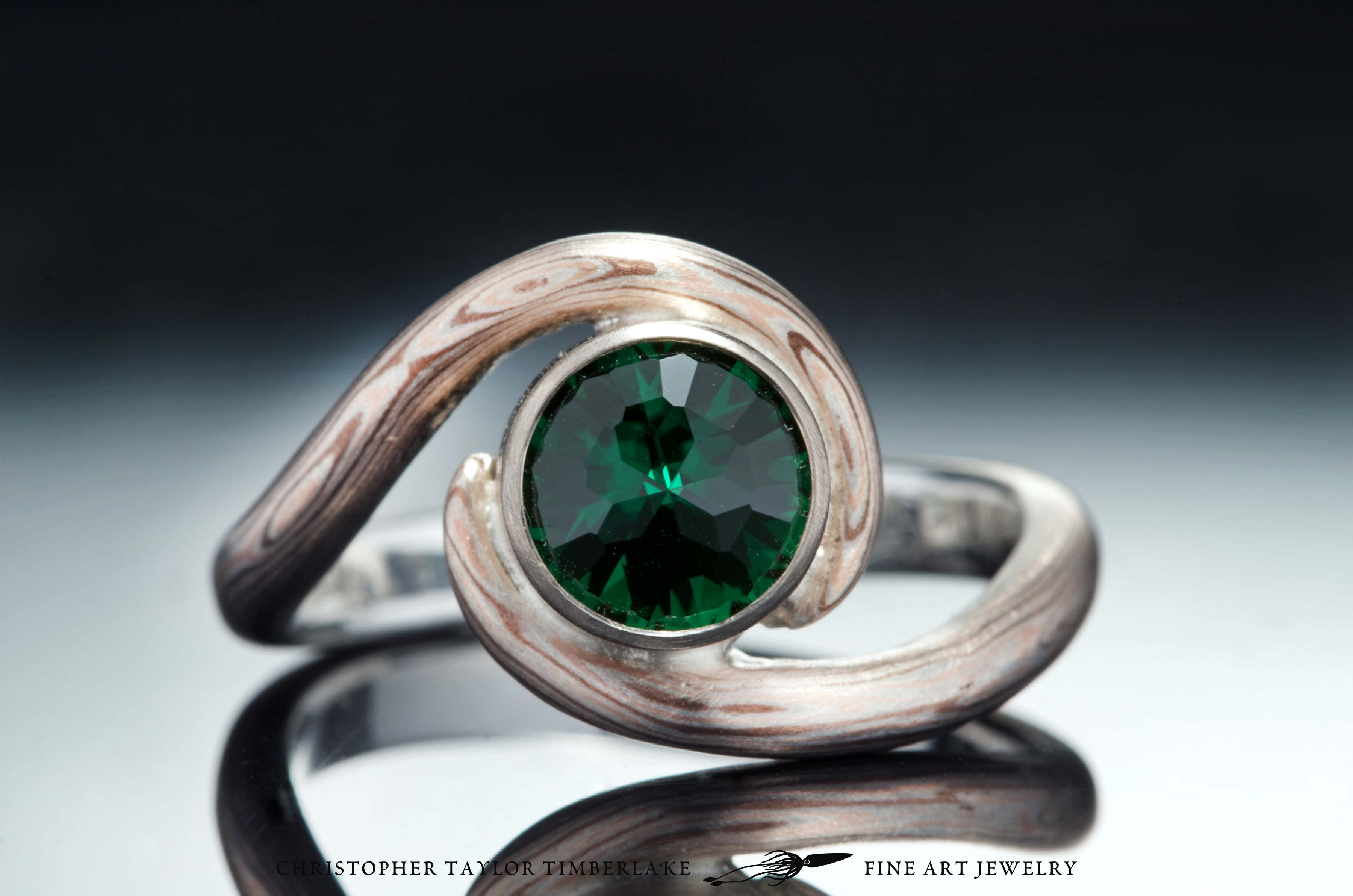 Christopher Taylor Timberlake Mokumé Gane 14K Rose Gold, Shakudo, and Sterling Silver Ring with Green Tourmaline