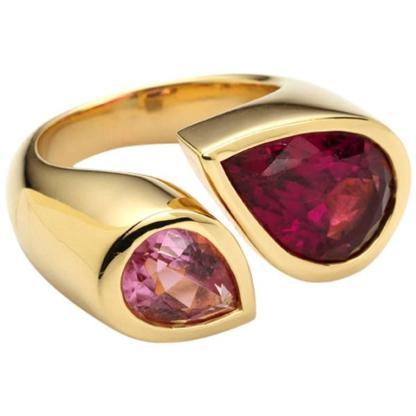 Deux Poires Pink Tourmaline Gold Ring $9,170.05