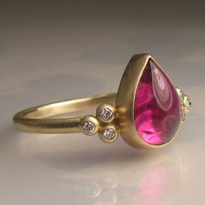 Janish Jewels pink tourmaline, diamond and 14 carat gold ring, $698
