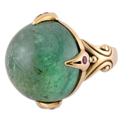 Large Green Tourmaline Ruby Gold Dragon's Eye Ring $6,885