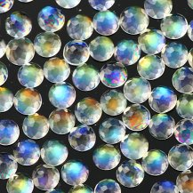 Rainbow moonstone 3mm rose cut round AAA, $3