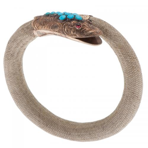 Victorian Serpent Bracelet with Gray Hair in Gold with Turquoise and Garnet