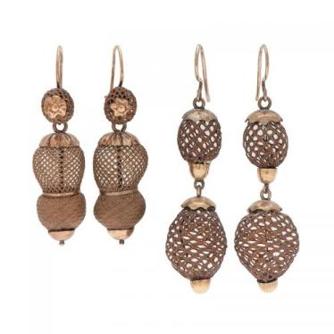 Victorian Drop Earrings with Woven Hair in Gold