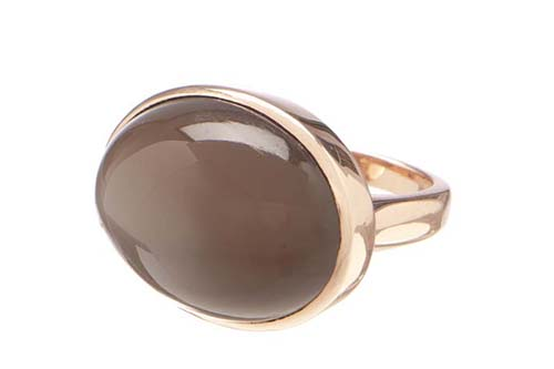 Karin Jamieson brown moonstone and 18 carat gold ring