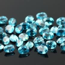 Blue Zircon Mixed Cut Gemstone 7x5mm Oval, $49