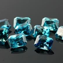 Blue Zircon Scissor Cut Gemstone 9x7mm Rectangle, $135