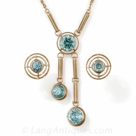 Lang Antiques Retro Gold and Zircon Necklace and Earring Set