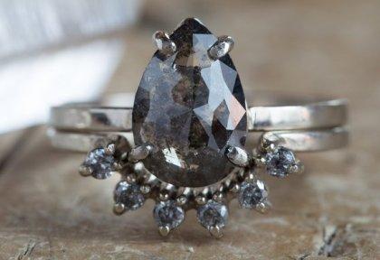 Lex Luxe rose cut black diamond engagement ring
