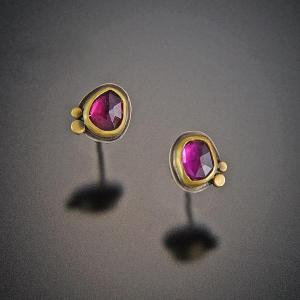 Ananda Khalsa Garnet Stud Earrings with Two 22k Dots
