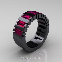 Art Masters Men's Black Gold and Rhodolite Engagement Ring, $2199