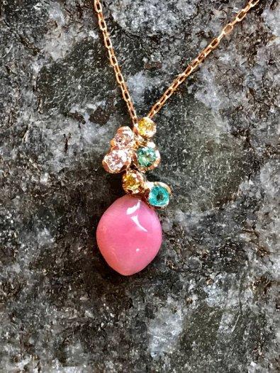 Conch Pearl, Diamond and Tourmaline Necklace, La Corser Jewelry, $2060