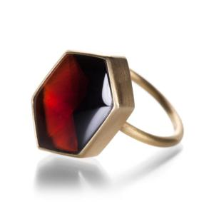Quadram Hexagon Almandine Garnet Ring