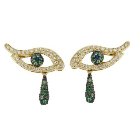 Ileana Makri Angry Tear Stud in 18k Gold with Diamonds, Sapphires and Tsavorites, $4540 USD