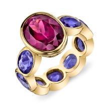 Sarah Hendler Rhodolite and Sapphire ring, $9260