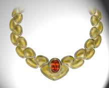 Henn of London Spessartite Garnet and 18k Gold Necklace