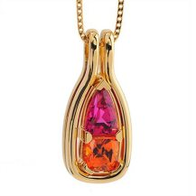 Coffin and Trout Spessartite Garnet, Rubellite and 18K Gold Pendant