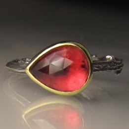 Peach Tourmaline, 18k Gold & Sterling Silver Ring, Janish Jewels, $182