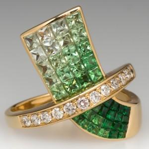 Vintage Tsavorite Garnet & Diamond Invisible Set Cocktail Ring 14k Gold