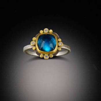 Ananda Khalsa London Blue Topaz Ring with Diamond Dots, $1,190
